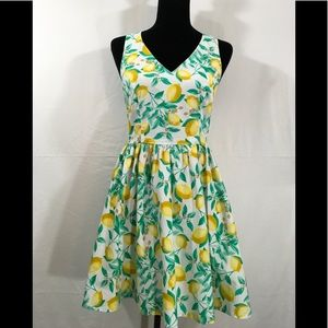 Elle lemon print crisscrossed back sundress